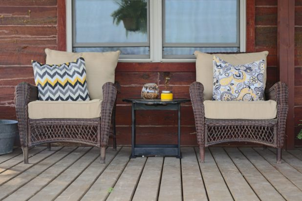Front Porch Using Black, White, Yellow & Tan