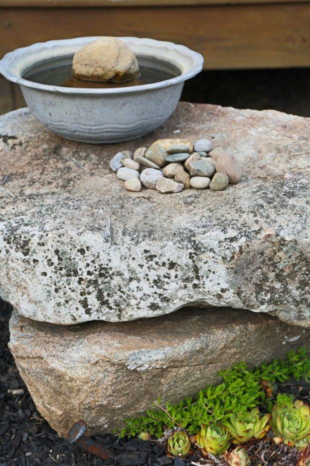 Pewter Bird Bath, Rock Sculpture, Hens & Chicks