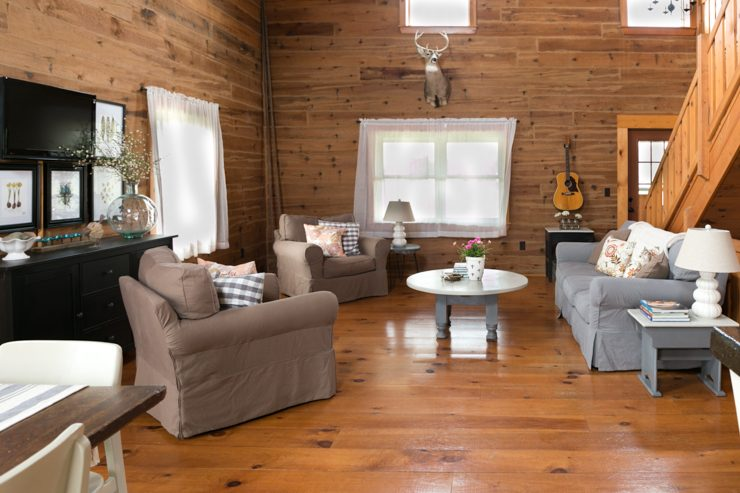 Log Home Living Room in Neutral Colors