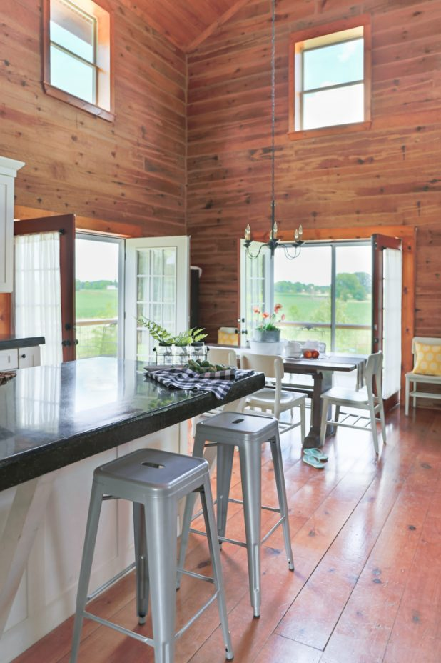 French Doors Open in the Dining Room of a Log Home
