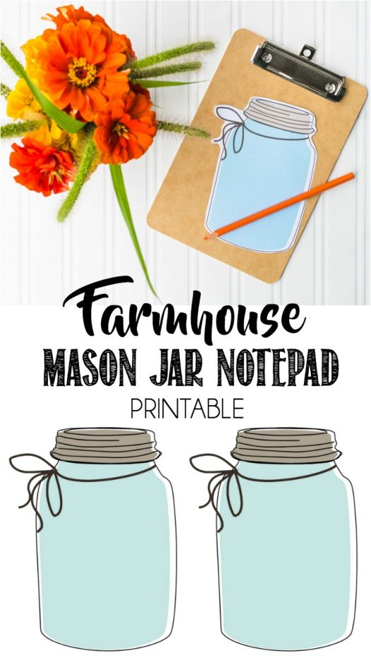 Farmhouse Mason Jar List Keeping Notepad Printable With Free Download