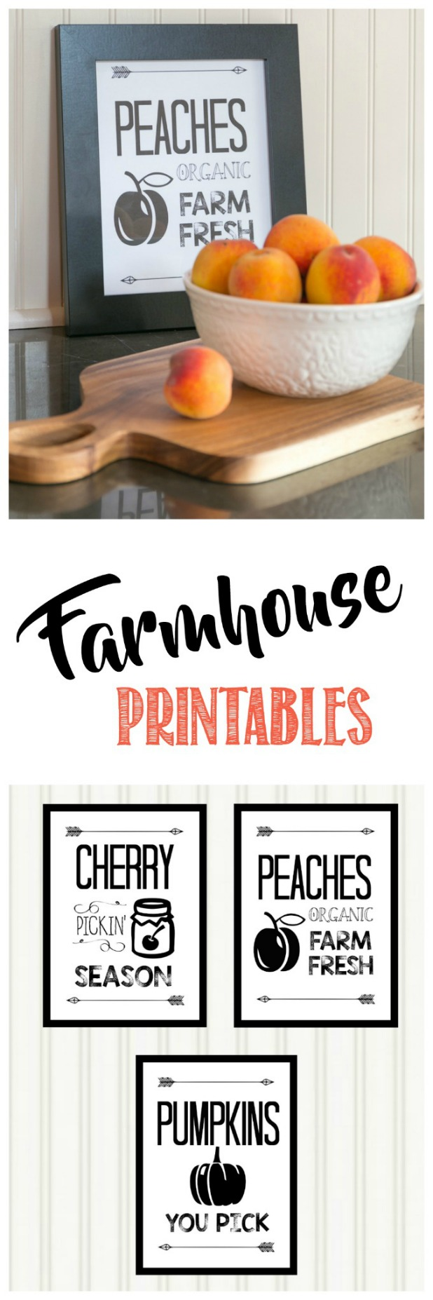 Farmhouse Printables, Farmhouse Style, Harvest, Pumpkin, Peach, Cherry