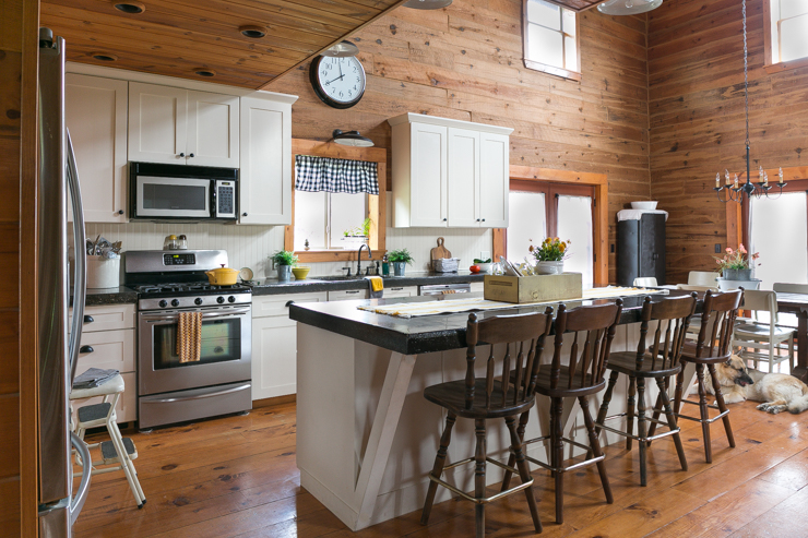 Painted Beadboard Stained Barstools Creative Cain Cabin
