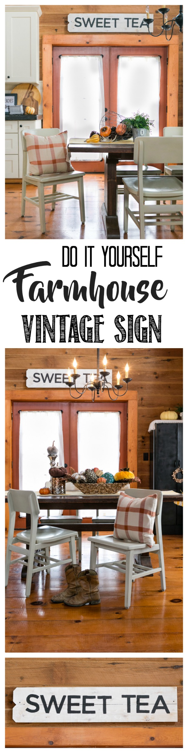 DIY Vintage Farmhouse Kitchen Sign Made From Pickets. Complete Tutorial With Photos. Popular Pin!