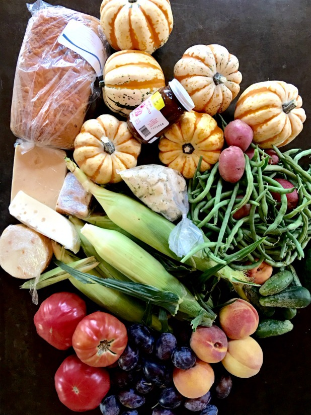 Fresh Fruit, Vegetables, Bread, Cheese, and Jam From the Farmers Market