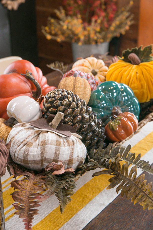 Fall Pumpkins Gathered in a Wicker Basket. Popular Pin!