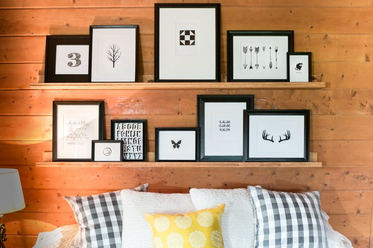 Gender Neutral Guest Bedroom & Home Office Combo. Gallery Wall Done in Black and White Artwork