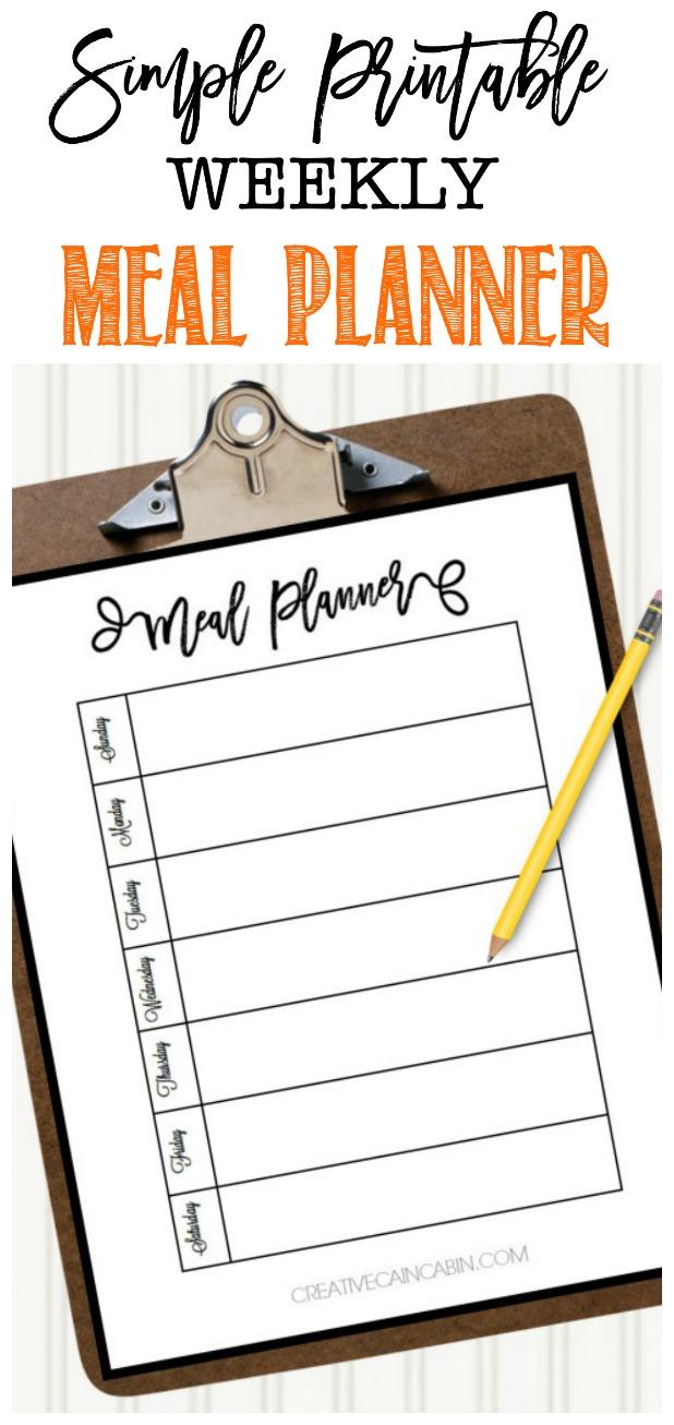 Simple Printable Weekly Meal Planner, Free Download