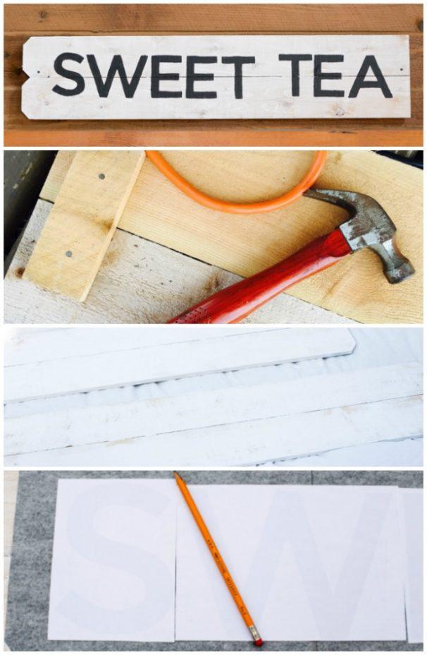 Steps 1-4 For Making a Vintage Farmhouse Kitchen Sign