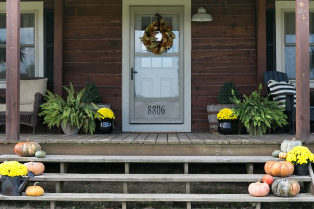 Rustic Cabins Fall Porch
