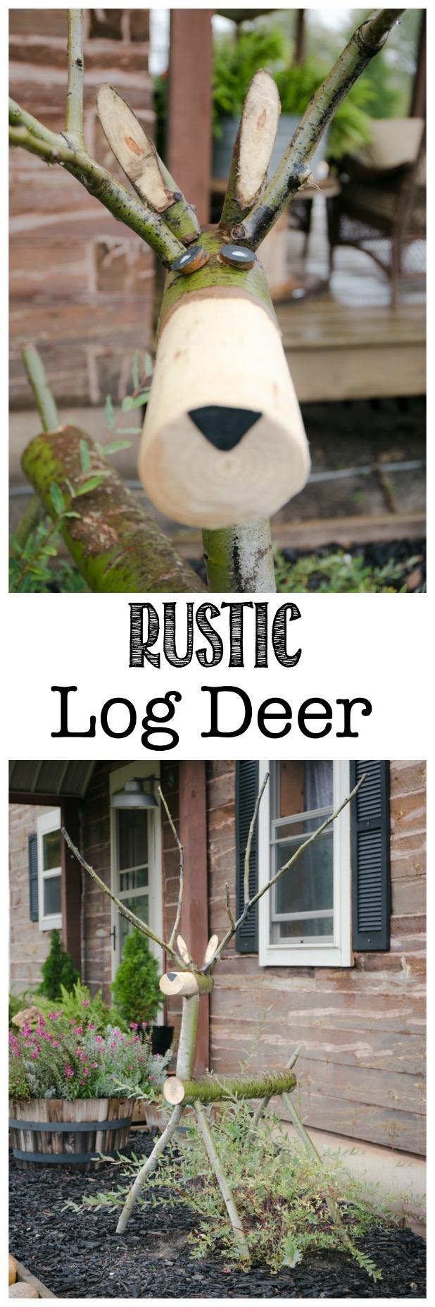 Rustic Log Deer