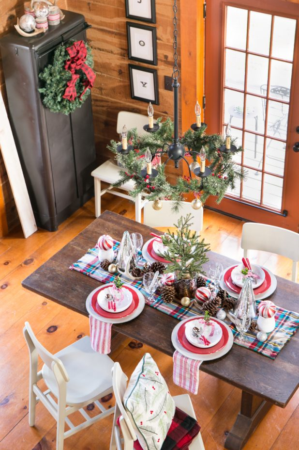 Christmas Dining Room Using Red, Gingham, Deer Antlers, Pinecones, and Plaid