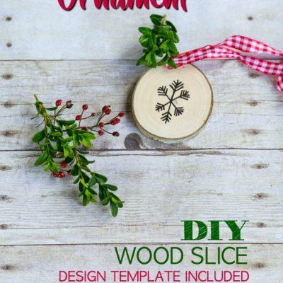 DIY Rustic Wood Slice Christmas Ornament
