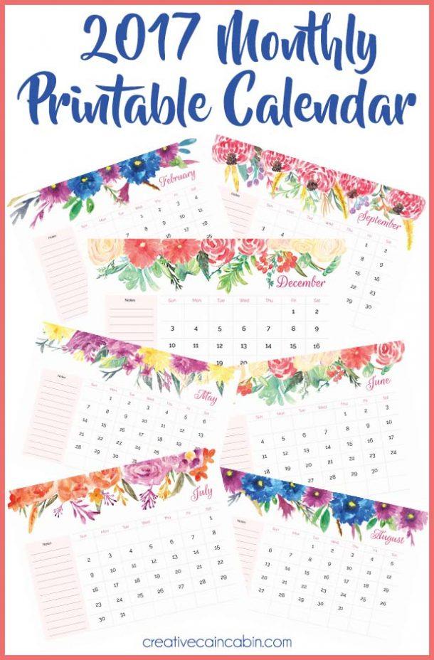 2017 Monthly Printable Calendar