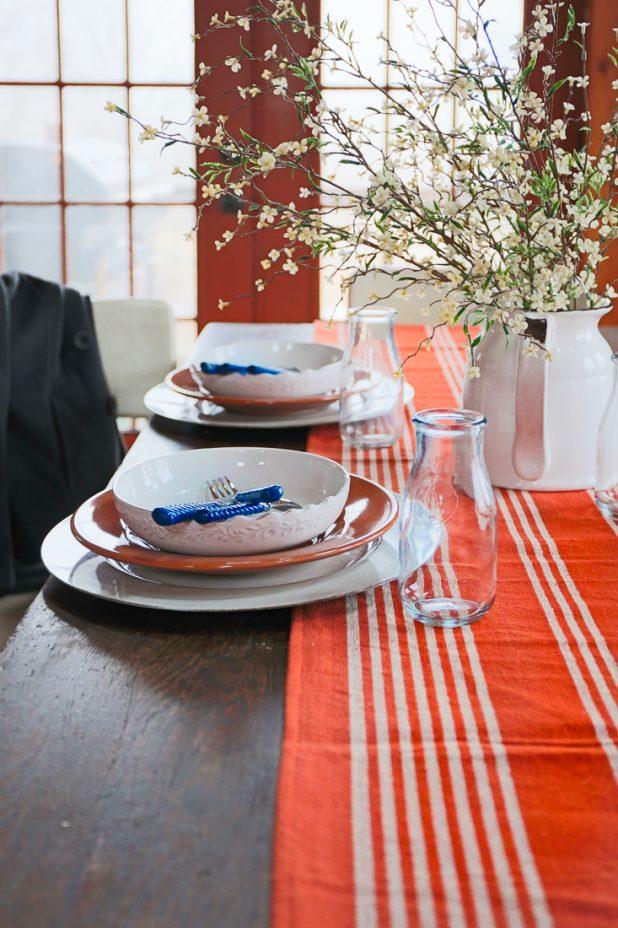 Winter Decorating Using Navy Blue & Rust