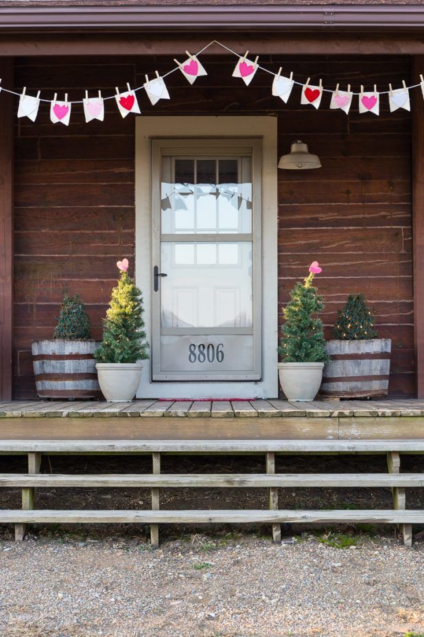 Rustic Log Home Porch With Canvas and Felt No Sew Valentine Bunting