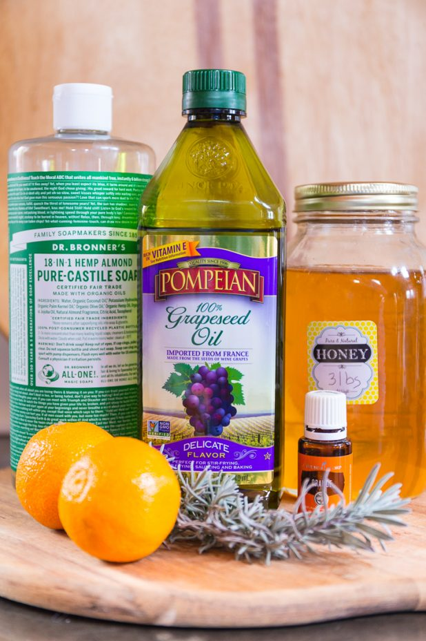 DIY Natural Essential Oil and Honey Body Wash Ingredients