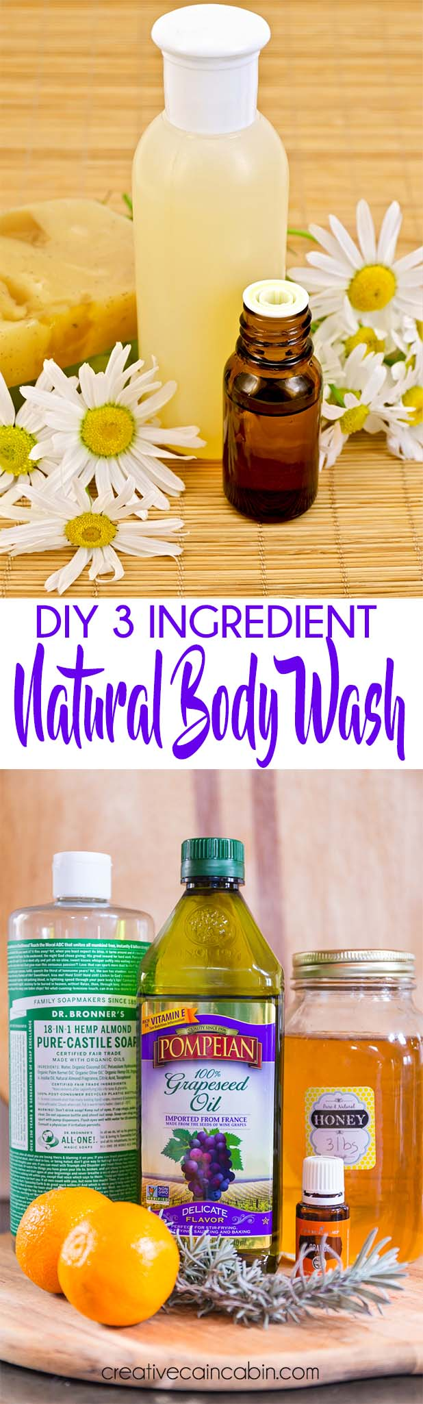 DIY Natural Essential Oil and Honey Body Wash 3 Ingredients With Essential Optional