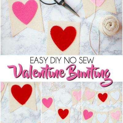 Valentine Bunting | No Sew