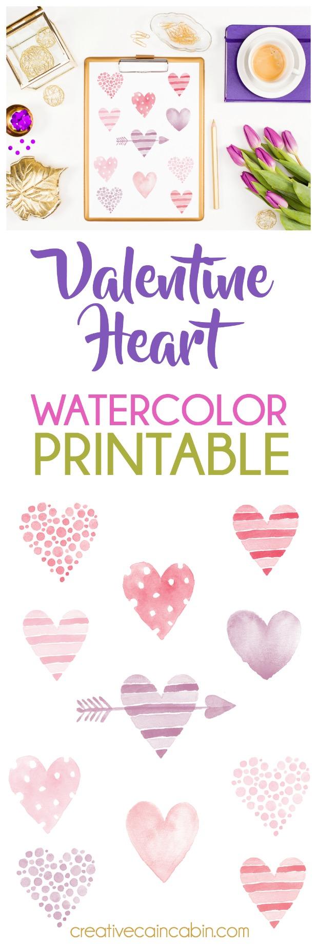 Valentine Heart Watercolor Printable