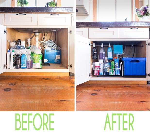 Organizing Under a Kitchen Sink Before and After