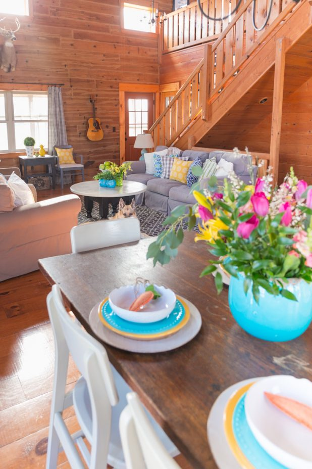 Spring Home Tour, Log Home Using Blues Greens and a Pop of Yellow