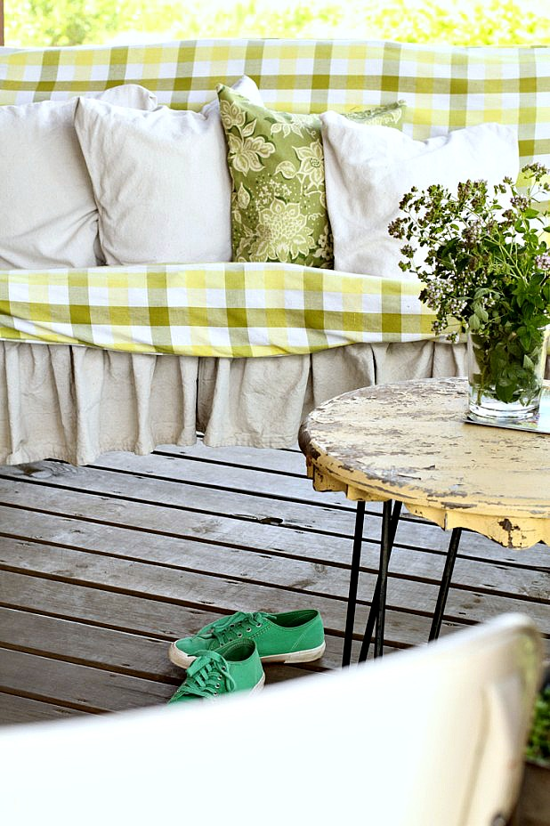 Green Plaid Summer Porch