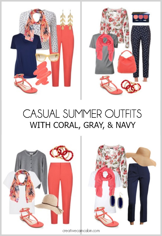Casual Summer Outfits. Great For Travel. Mix and Match. Fashion Over 40. Coral, Gray, and Navy.