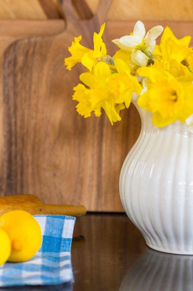 Daffodil Blooms, Vintage Cutting Boards, White Pitcher, Blue Gingham Tea Towel, Lemons, Spring Decor
