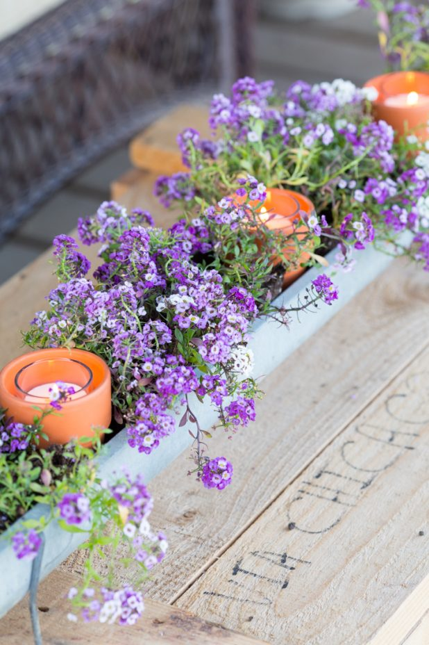 Turn an old galvanized chicken feeder into a flower planter, add clay terra cotta pots and candles for a romantic summers night