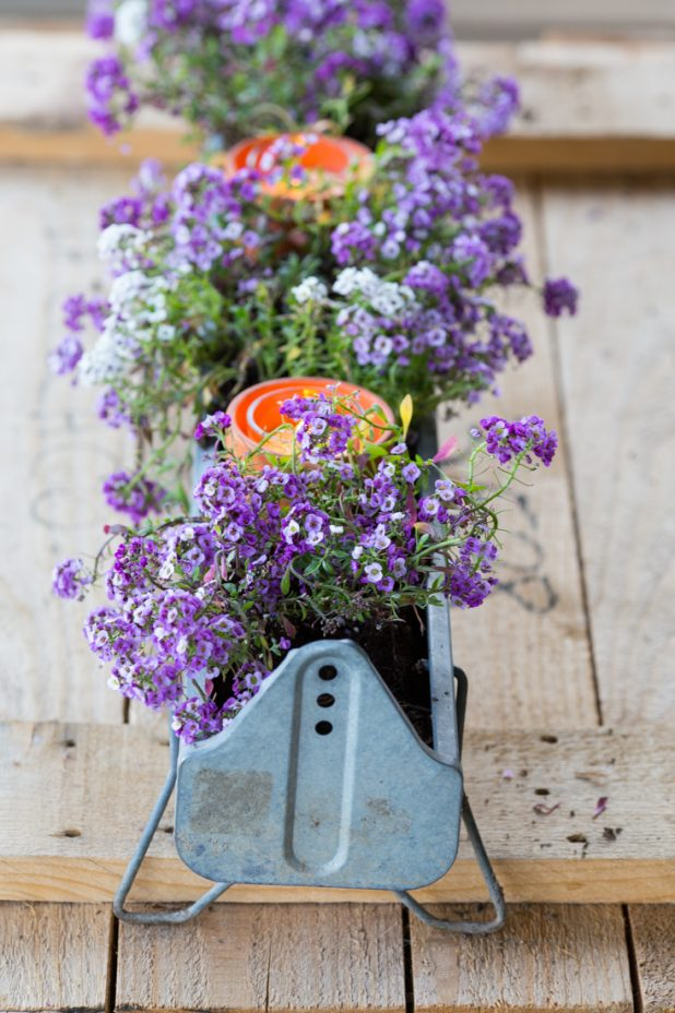Turn an old galvanized chicken feeder into an outdoor container garden, add terra cotta pots and candles for a romantic feel