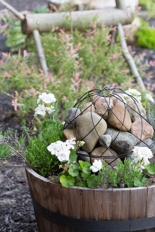Garden Art Orb Made From Two Wire Flower Planters and Filled With Field Rocks