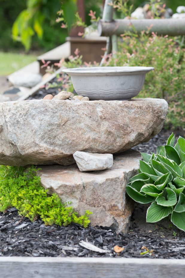 DIY Birdbath From a Large Pewter Bowl