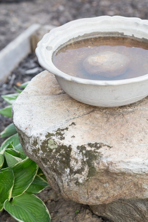 Birdbath Made From a Large Pewter Bowl