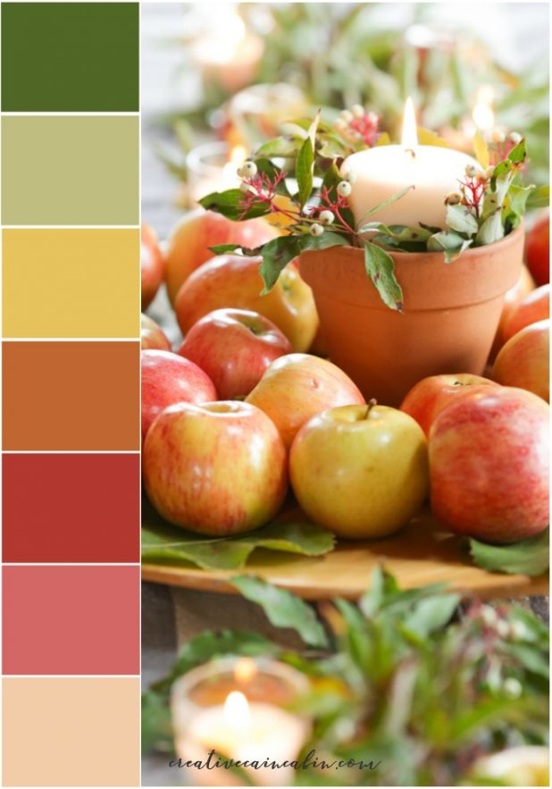 Stunning Fall Color Palette With Colors Picked From Nature, Apples, Leaves, and Berries
