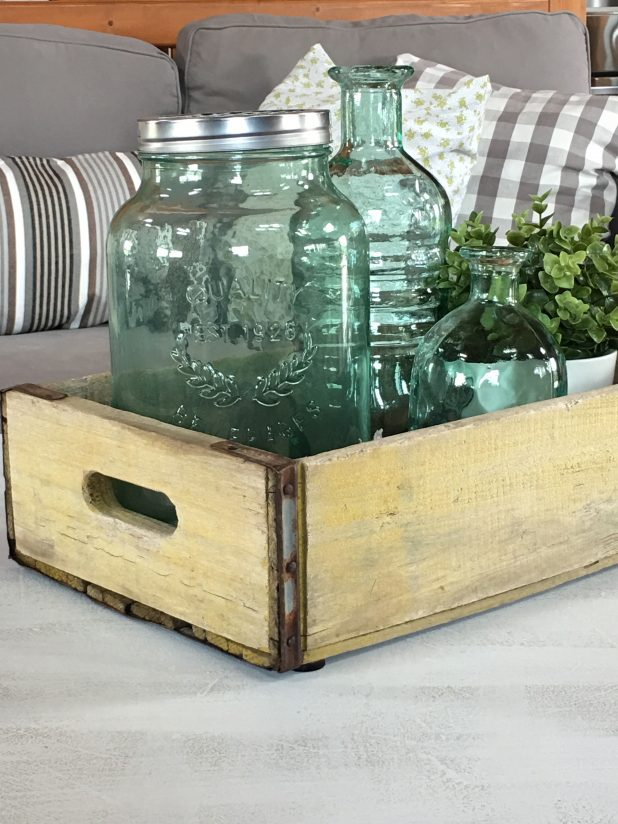 Vintage Glass Mason Jar, and Recycled Bottle in Sea Glass Green, Farmhouse Decor with Paint Color From Magnolia Market Fixer Upper Series