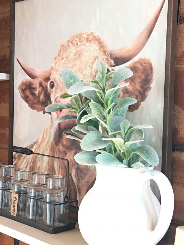 Farmhouse Decor Using Sea Glass Colors, Magnolia Market Paint, Fixer Upper, Cow Print