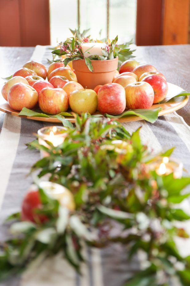 Rustic Farmhouse Fall Decorating Ideas With Apples, Leaves, Twigs, and Berries. All Easy To Create and Inexpensive.