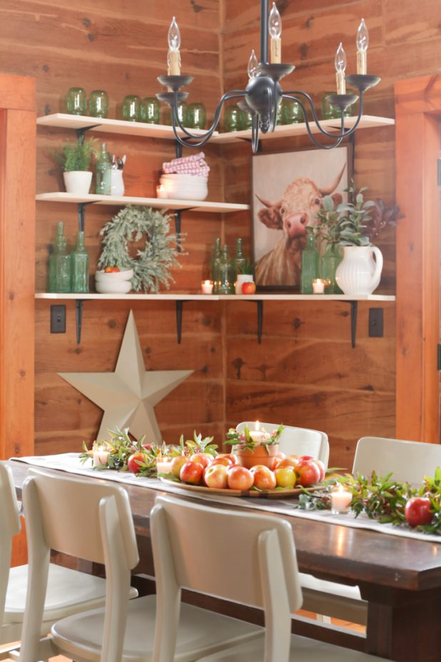 Rustic Farmhouse Fall Decorating Ideas Using Apples, Leaves, Twigs, and Berries