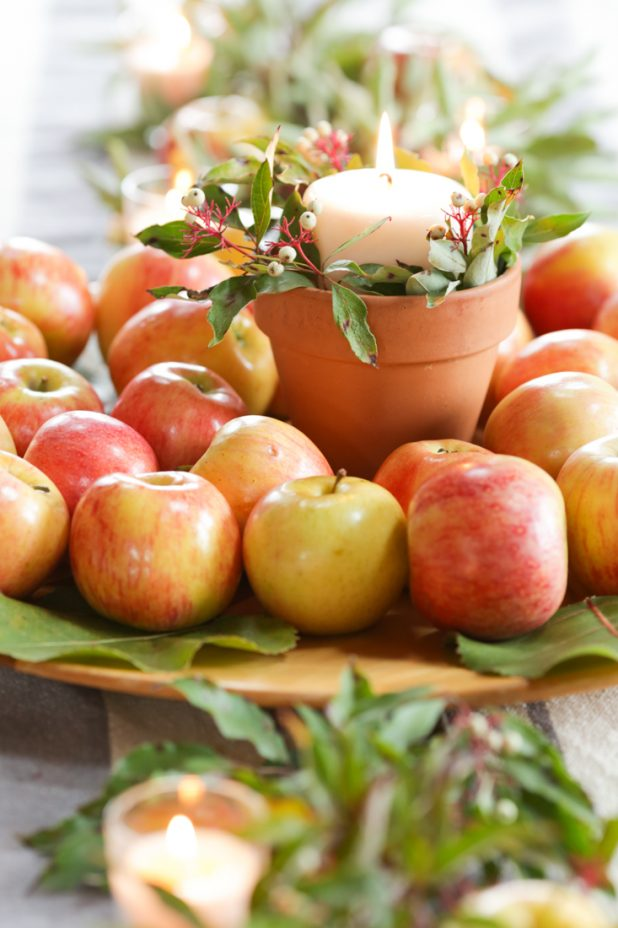 Rustic Fall Decorating Ideas Using Natural Elements, Apples, Leaves, Twigs, and Berries