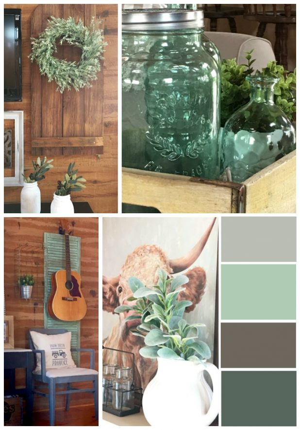 Farmhouse Decor Using See Glass Colors, Magnolia Market Paint Color Inspired