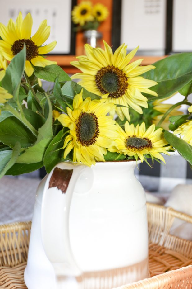 Decorating for fall with sunflowers