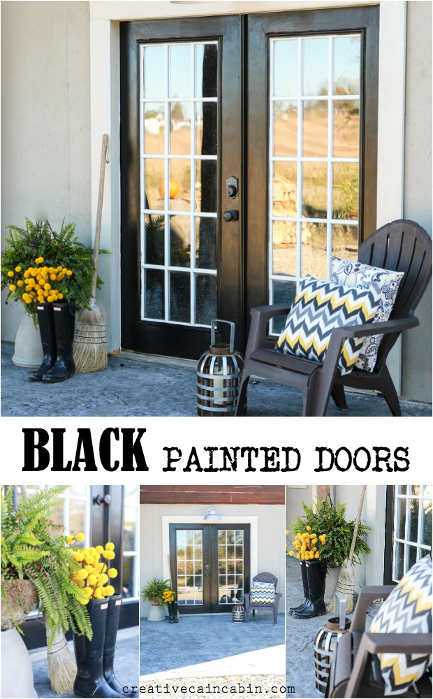 Painted Exterior Doors In Black With Pops of Gray and Yellow