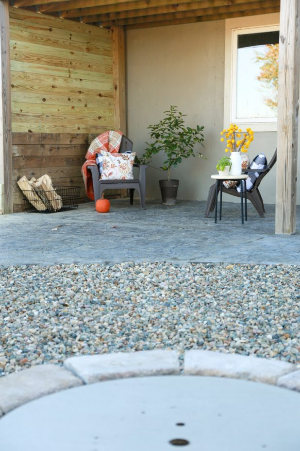 Stamped Concrete Patio Area For Outdoor TV
