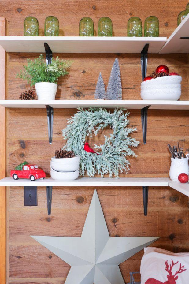 Farmhouse Christmas Shelves