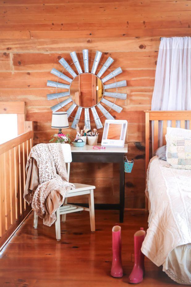 Bedroom Makeup Vanity, Rustic Windmill Mirror, Bedside Lamp, Makeup Storage, Makeup Mirror