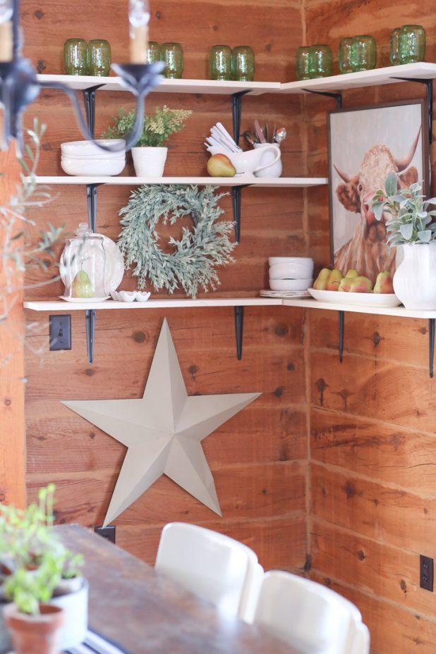 White Dishes, Green Mason Jars, Cow Print, Rustic Star, Open Farmhouse Shelves