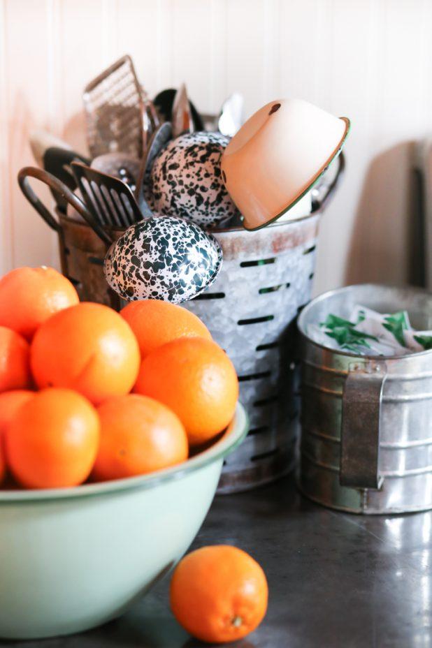 Kitchen Storage: Olive Bucket For Kitchen Utensils, Flour Sifter For Tea Bags, Enamelware Bowl For Oranges