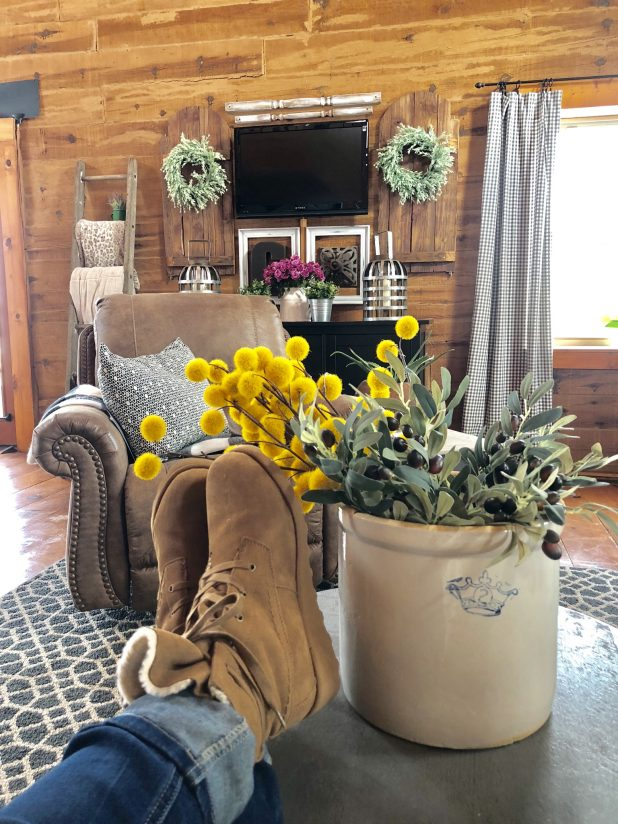 Log Home Living Room With My Feet Up