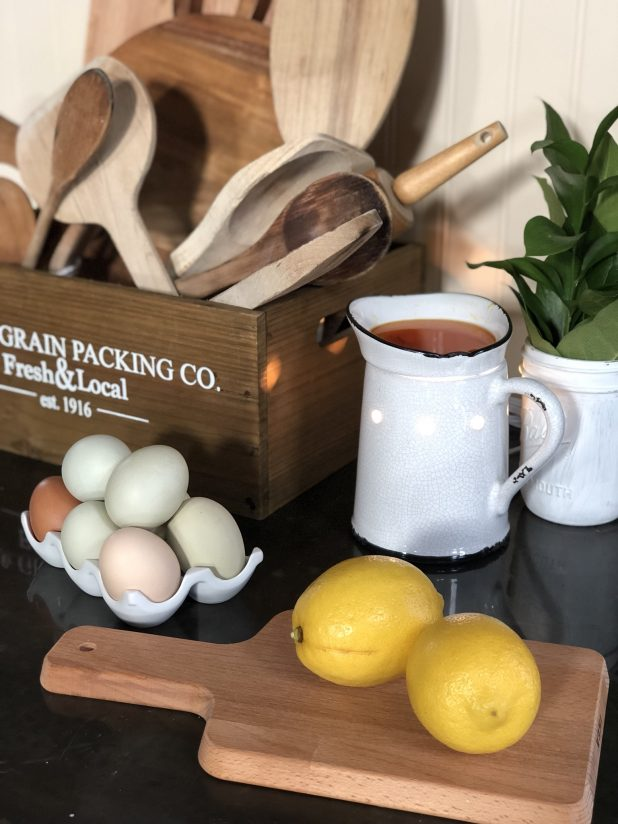 Farmhouse Feel, Fresh Chicken Eggs, Vintage Wooden Spoons, Cutting Boards, Zesty Lemons, and a Tart Burner